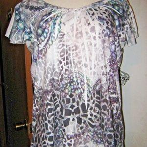 White Black Purple + Animal Print Bead Wrinkle Top